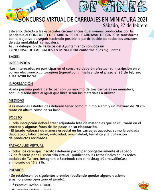 'Concurso virtual de carruajes en miniatura' en el #CarnavalEnCasa de Gines