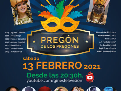 El 'Pregón de los pregones' inaugurará el sábado 13 de febrero el #CarnavalEnCasa